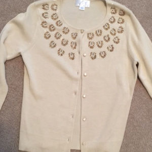 Beaded cardigan sweater
